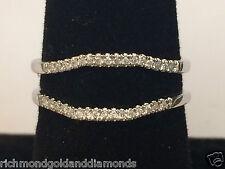 WHITE Gold Pave Diamond Solitaire Wrap Ring Enhancer Curve Contour Band