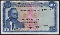 1969 KENYA 20 SHILLINGS BANKNOTE * A/40 460741 * VF * P-8a *