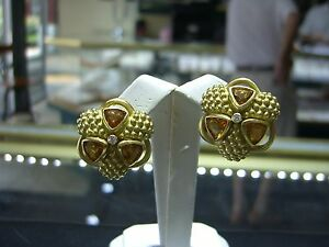 VINTAGE DESIGNER SOLID 18 KARAT YELLOW GOLD DIAMOND CITRINE EARRINGS ESTATE WOW!