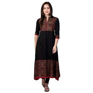 Indian Women Designer Black Printed Kurta Kurti Long A-Line Dress New Pakistani