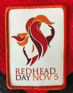 """Redhead Day November 5 - 3.5 x 2.5"""" Embroidered iron-on sew-on patch"""