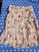 unique MOSCHINO 100% SILK ruffle SKIRT polka dots pinks blue £495 UK12 it44 bnwt