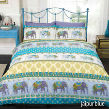 Ethnic Moroccan or Indian Elephant Floral Paisley Print Duvet Quilt Cover Set Double Blue