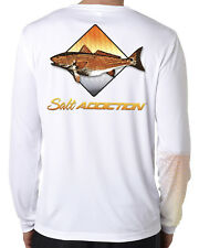 Salt Addiction long sleeve microfiber flats fishing t shirt uv upf 50+ redfish