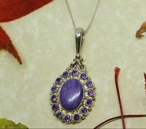SAJEN Designer Amethyst and Purple Charoite Pendant .925 Sterling Silver RARE
