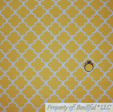 BonEful FABRIC FQ Cotton Quilt Yellow White Quadrefoil Damask Small Little Baby
