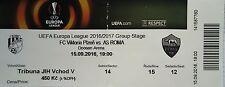 Ticket uefa am 2016/17 FC Victoria plzen-as roma
