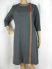 VTG '60s '70s L BERKSHIRE B-TWEEN Gray Striped 3/4 Sleeve Heavy Stretch Dress