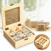 9 Slot Tea Sugar Bag Storage Wooden Box Holder Wood Coffee Organizer Container