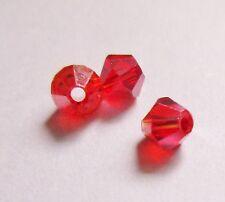 100 perles toupies cristal de swarovski colori rouge 4mm