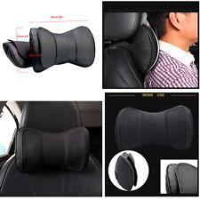 2 Pcs Black Double Layer Genuine Leather Car Neck Rest Cushion Headrest Pillows
