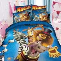 Blue Madagascar Single Size Bed Quilt Doona Duvet Cover Set Pillow Case