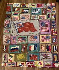 Original Vintage Antique Tobacco Flannel Complete Flag Quilt Cigar Box Premiums