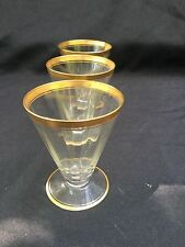 VINTAGE  GLASSWARE,TIFFIN -Franciscan, Rims of Gold, Tumblers Glassware, Antique