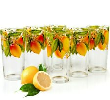 6 Tall Drinking Glasses Lemons Decal 8 fl oz Juice Glass Highball Tumbler