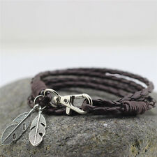Chic New Bangles Men Jewelry Accessories PU Leather Feather Charm Bracelets PR