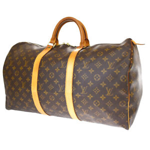 Auth LOUIS VUITTON Keepall 50 Hand Bag Monogram Leather Brown M41426 73MH713