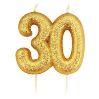 30th Candle Gold Birthday Anniversary Glitter Age Number Party Cake Topper Gift
