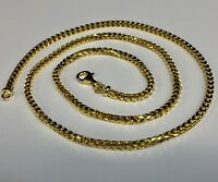 "14k Solid Yellow Gold Franco Curb Box Mens Link 30"" 3 mm 40 grams chain Necklace"