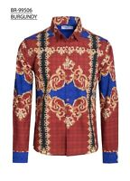 Mens Caviar Dremes Long Sleeve Button Down Fitted Dress Shirt Red Gold Floral