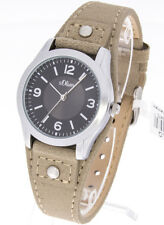 s.Oliver Damenuhr SO-3380-LQ Edelstahl Lederband beige Unterlegeband Armbanduhr