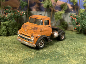 1957 Dodge COE Semi Truck Weathered Rusty Custom 1/64 Diecast Barn Find Rust M2