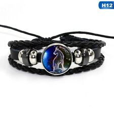 12 Zodiac Signs Constellations Glass Button Woven Leather Bracelet Jewelry Gift