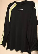 f7a7b4f4b11 Diadora Goalie Jersey Mens L Goalkeeper Padded Black Long Sleeves Neon  Yellow