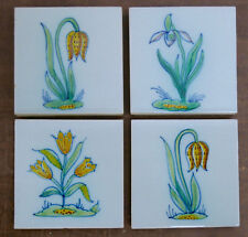 Vintage Dutch Set = 4 Floral Tiles
