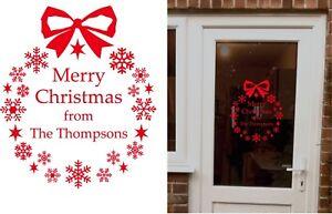 Personalised Merry Christmas wreath snowflake star wall/window/door Sticker