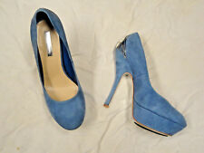 H by Halston blue suede platform shoe with silver tone accent   Size 8 1/2