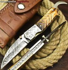HAND MADE DAMASCUS POCKET FOLDING KNIFE LINER LOCK| ENGRAVED