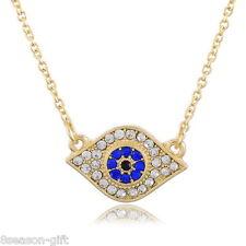 HX 1PC Gold Plated Clear Rhinestone Evil Eye Necklace Fashion Jewelry 48cm