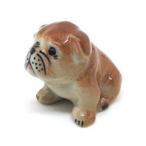 ceramic bully Dog dollhouse figurines porcelain animal vintage pottery miniature
