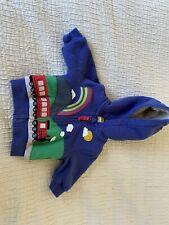 Lovely Boden Blue Train Shaggy Fleece Lined Zipped Hoody Jumper 0-3 Months Boy