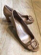 0bf69406ed7 Etienne Aigner Nude Patent Heels Size 9 Block Heel Peep Toe Buckle E-Day  Vegan