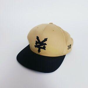 Zoo York Beige Black Dad Hat Cap Adjustable One Size Fits All Flat Brim