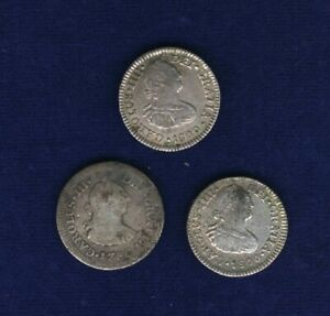 MEXICO SPANISH COLONIAL 1/2 REAL SILVER COINS: 1786, & 1800 (2), LOT OF (3)