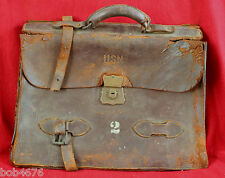 RARE U.S.N. United States Navy Numbered Leather Courier Bag Satchel Briefcase