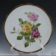 """Avenir Limoges 11 5/8"""" Pink and Yellow Roses Decorative Plate - BEAUTIFUL"""