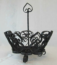 VINTAGE WROUGHT IRON BASKET WITH HANDLE MADE IN SPAIN