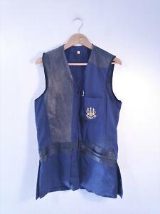 BERETTA | Men's Blue Clay Pigeon Trap Shooting Vest Leather Trim Zip Front | M