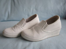 15f467964cb LADIES CLASSIC WHITE WEDGES PLATFORM SIZE 4 CASUAL WORK HIGH HEELS SHOES  SLIP ON