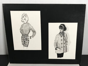 1959 Fashion Design Stylish Commercial Art Vintage Original
