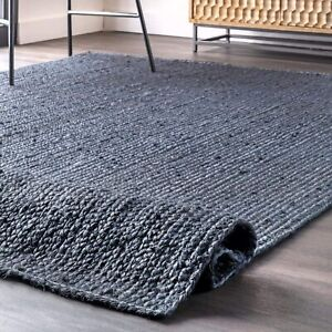 6x9 feet square blue color hand woven jute area rug home living rug jute doormat