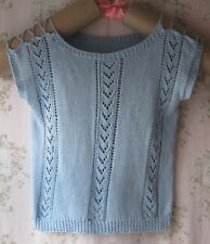 Vtg Light/Baby Blue Hand Knit Crochet Lace Tie Cut-Out Off-Shoulder Top Jumper L