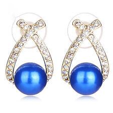 Blue simulata Argento Orecchini di Perle Cristallo Nuziale Strass placcato in oro 18K