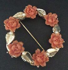 """Vintage Antique Orange Roses, Pearl & Leaves Wreath Brooch 1.75"""" diameter."""