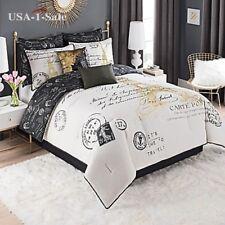 Queen Size Bedding Paris Comforter Set Bedroom Decor French White Gold Black