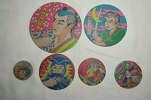Pack 6 Vintage Japanese Samurais Warriors Round Menko Game Cards Different Size